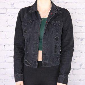 Urban Outfitters distressed black denim jacket c2